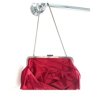 Steve Madden Red Rose Silk Clutch Bag